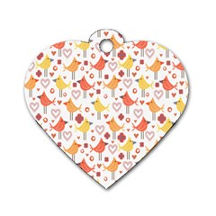 Happy Birds Seamless Pattern Animal Birds Pattern Dog Tag Heart (one Side)