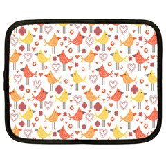 Happy Birds Seamless Pattern Animal Birds Pattern Netbook Case (Large)