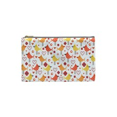 Happy Birds Seamless Pattern Animal Birds Pattern Cosmetic Bag (small)