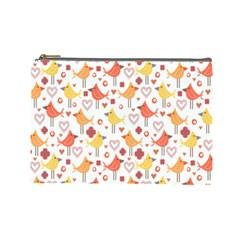 Happy Birds Seamless Pattern Animal Birds Pattern Cosmetic Bag (Large)