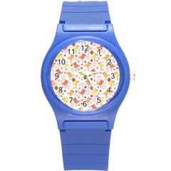 Happy Birds Seamless Pattern Animal Birds Pattern Round Plastic Sport Watch (S)
