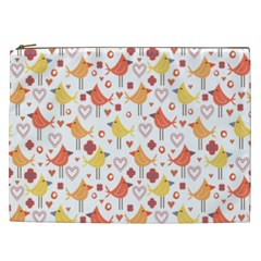 Happy Birds Seamless Pattern Animal Birds Pattern Cosmetic Bag (xxl)