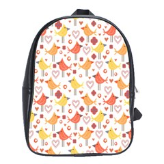 Happy Birds Seamless Pattern Animal Birds Pattern School Bags (xl)