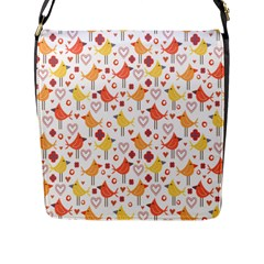 Happy Birds Seamless Pattern Animal Birds Pattern Flap Messenger Bag (L)