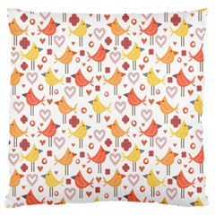 Happy Birds Seamless Pattern Animal Birds Pattern Large Flano Cushion Case (one Side)