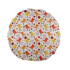 Happy Birds Seamless Pattern Animal Birds Pattern Standard 15  Premium Flano Round Cushions