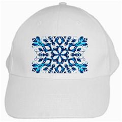 Blue Snowflake On Black Background White Cap