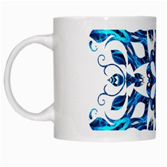 Blue Snowflake On Black Background White Mugs