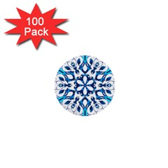 Blue Snowflake On Black Background 1  Mini Buttons (100 Pack)