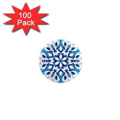 Blue Snowflake On Black Background 1  Mini Magnets (100 pack)