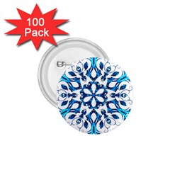 Blue Snowflake On Black Background 1 75  Buttons (100 Pack)