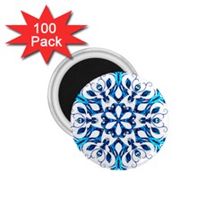 Blue Snowflake On Black Background 1.75  Magnets (100 pack)