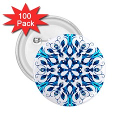 Blue Snowflake On Black Background 2.25  Buttons (100 pack)