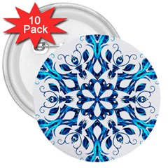 Blue Snowflake On Black Background 3  Buttons (10 pack)