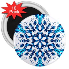 Blue Snowflake On Black Background 3  Magnets (10 Pack)