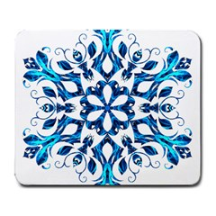 Blue Snowflake On Black Background Large Mousepads