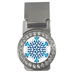 Blue Snowflake On Black Background Money Clips (CZ)