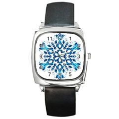 Blue Snowflake On Black Background Square Metal Watch