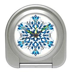 Blue Snowflake On Black Background Travel Alarm Clocks