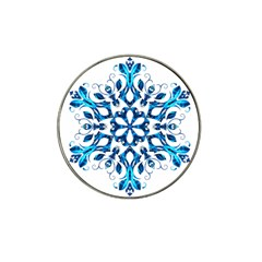 Blue Snowflake On Black Background Hat Clip Ball Marker
