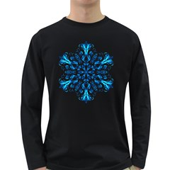 Blue Snowflake On Black Background Long Sleeve Dark T Shirts