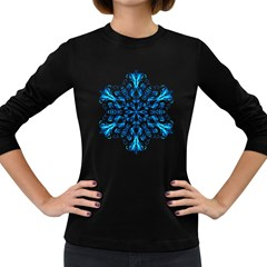 Blue Snowflake On Black Background Women s Long Sleeve Dark T-Shirts
