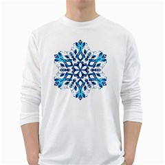 Blue Snowflake On Black Background White Long Sleeve T Shirts