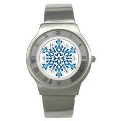 Blue Snowflake On Black Background Stainless Steel Watch