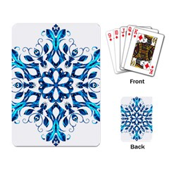 Blue Snowflake On Black Background Playing Card