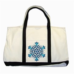 Blue Snowflake On Black Background Two Tone Tote Bag