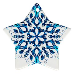 Blue Snowflake On Black Background Star Ornament (Two Sides)
