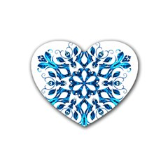Blue Snowflake On Black Background Heart Coaster (4 pack)