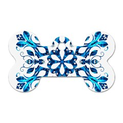 Blue Snowflake On Black Background Dog Tag Bone (two Sides)