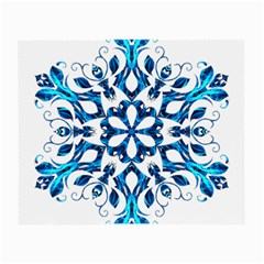 Blue Snowflake On Black Background Small Glasses Cloth (2 Side)