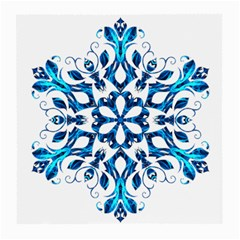 Blue Snowflake On Black Background Medium Glasses Cloth (2-Side)