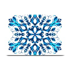Blue Snowflake On Black Background Plate Mats