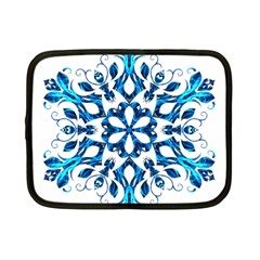Blue Snowflake On Black Background Netbook Case (Small)