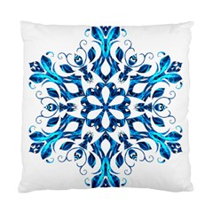 Blue Snowflake On Black Background Standard Cushion Case (One Side)