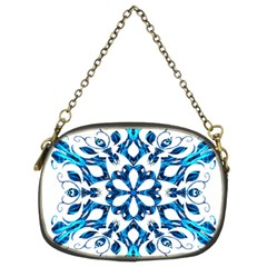 Blue Snowflake On Black Background Chain Purses (two Sides)