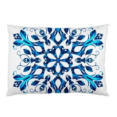Blue Snowflake On Black Background Pillow Case
