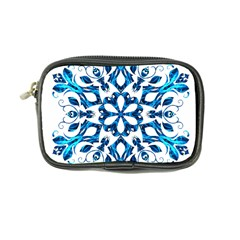 Blue Snowflake On Black Background Coin Purse