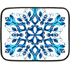 Blue Snowflake On Black Background Double Sided Fleece Blanket (Mini)
