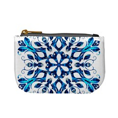 Blue Snowflake On Black Background Mini Coin Purses