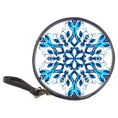 Blue Snowflake On Black Background Classic 20 Cd Wallets