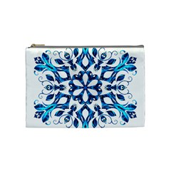 Blue Snowflake On Black Background Cosmetic Bag (medium)