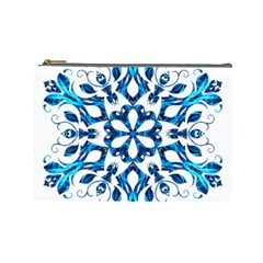 Blue Snowflake On Black Background Cosmetic Bag (large)