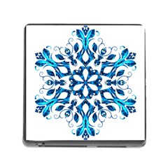 Blue Snowflake On Black Background Memory Card Reader (Square)