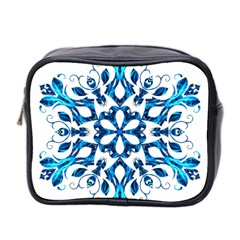 Blue Snowflake On Black Background Mini Toiletries Bag 2-Side