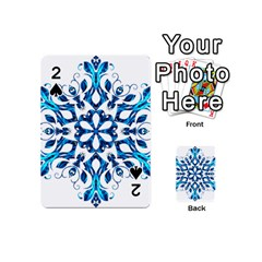 Blue Snowflake On Black Background Playing Cards 54 (Mini)