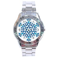 Blue Snowflake On Black Background Stainless Steel Analogue Watch